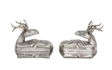 A PAIR OF REPOUSSÉ DEER-SHAPED SILVER BOXES Possib