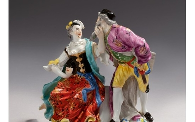 A MEISSEN GROUP OF PANTALONE AND COLUMBINE CIRCA 1740