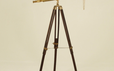 SOLID BRASS TELESCOPE ON ADJUSTABLE WOODEN STAND