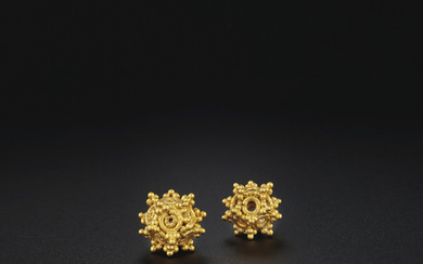 TWO RARE OPENWORK GOLD BEADS, EASTERN HAN DYNASTY (AD25-220)