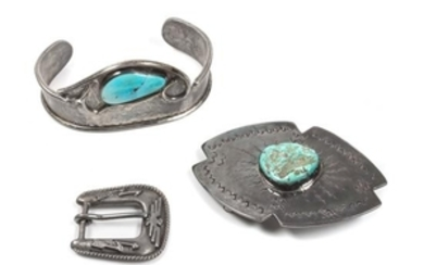 Southwestern Silver and Turquoise Belt Buckle and Bracelet