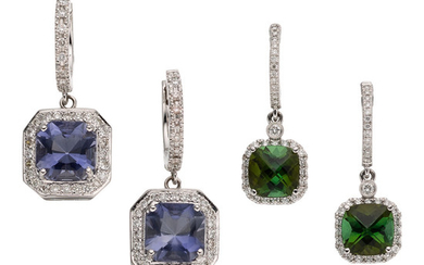 Tourmaline, Iolite, Diamond, White Gold Earrings The lot includes...