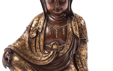 A Chinese Bronze and Mixed Metal Guan Yin Figure