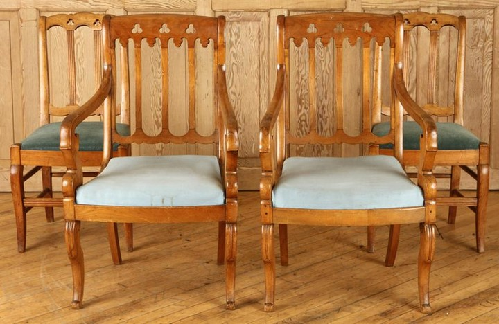FOUR LATE 19TH C. GOTHIC REVIVAL DINING CHAIRS