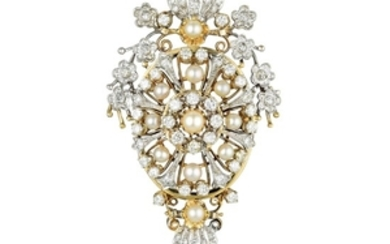 A Cultured Pearl and Diamond Pin