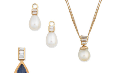 A cultured pearl and diamond pendant necklace, two diamond and cultured pearl pendants and a sapphire and diamond jewel