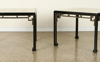 PAIR GILT GLASS TOP SIDE TABLES MANNER JAMES MONT