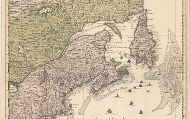 "The Northeastern Sheet of the Reduced-Size Edition of Popple's Map, ""Nouvelle Carte Particuliere de l'Amerique ou sont Exactement Marquees la Nouvelle Bretagne, le Canada ou Nouvelle France, la Nouvelle Ecosse, la Nouvelle Angleterre, la Nouvelle York,..."