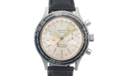 Wittnauer. A stainless steel manual wind chronograph wristwatch with world time indication