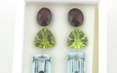 Lot aus Aquamarinen, Peridoten u. Turmalinen zus. 19,80 ct