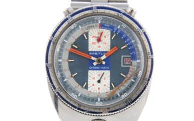 BREITLING - a gentleman's stainless steel Bullhead Pupitre Chrono-Matic chronograph bracelet watch.