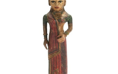 Carved Wood and Painted Indian Standing Female Statue.