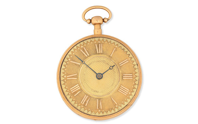 A continental gold key wind open face musical repeating pocket watch