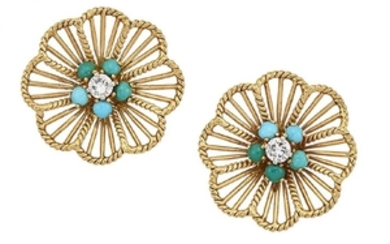 A pair of diamond and turquoise flowerhead...