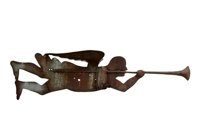 HIGHLY IMPORTANT AND EXCEPTIONAL 'CROWN POINT-OLD GABRIEL' WROUGHT SHEET IRON ANGEL GABRIEL WEATHERVANE, ATTRIBUTED TO WILLIAM HENRY FORSTER, CROWN POINT, NEW YORK, MADE IN 1822