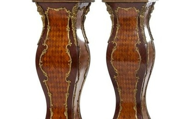 A Pair of Louis XV Style Gilt Metal Mounted Parquetry