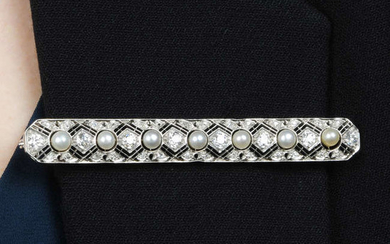 A mid 20th century 18ct gold cultured pearl and diamond bar brooch.