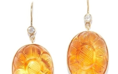 MUGHAL CARVED CITRINE AND DIAMOND EARRINGS in yellow