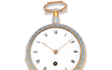 Wightwick & Moss, Ludgate Street, London. A continental gold and enamel key wind open face pocket watch