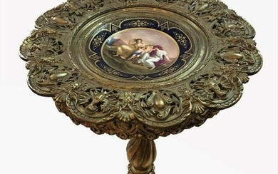 Antique Bronze And Wood Table With Plate Royal Vienna