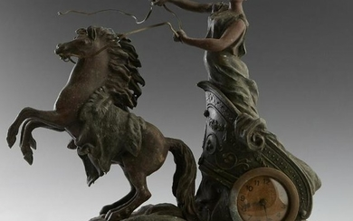 French Patinated Spelter Chariot Clock, early 20th c.,