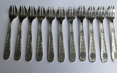 Christofle- Christofle- Seafood Forks/Oysters (12) - Louis XIV Style - Silverplate