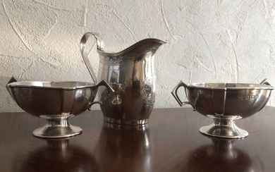Pair of saltcellars + milk jug sterling silver English 19th - .925 silver - England - Late 19th century