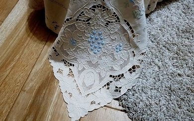 Museum-worthy bedspread made of pure 100% linen with handmade cutwork embroidery and satin stitch