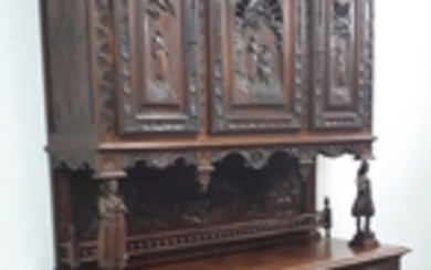 MASSIVE 19TH C. FRENCH BRITTANY BUFFET DEUX CORPS