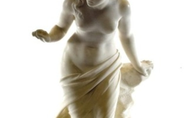 A White Marble Figure of a Young Girl, kneeling on...