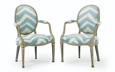A PAIR OF GEORGE III BLUE GREEN AND WHITE PAINTED ARMCHAIRS, IN THE MANNER OF JOHN LINNELL, CIRCA 1775
