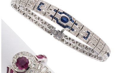 Multi-Stone, Platinum, White Gold Jewelry The lot includes a...