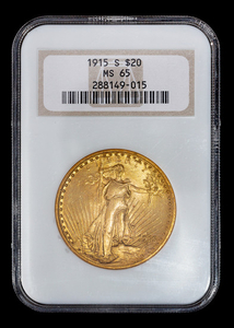 A United States 1915-S Saint-Gaudens Gold $20 Coin