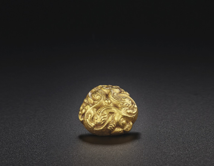 A VERY FINE GOLD HARNESS ORNAMENT, LATE WARRING STATES PERIOD-HAN DYNASTY, 3RD-2ND CENTURY BC