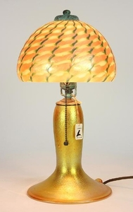 Twisted Iridescent Glass Table Lamp