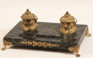 FRENCH REGENCY STYLE BRONZE AND MARBLE INKWELL