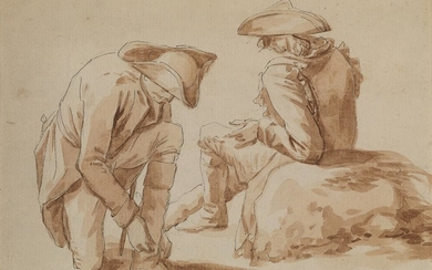 JEAN DUPLESSIS BERTAUX (Paris 1747 1819 Paris) Two Soldiers on Campaign, Resting.