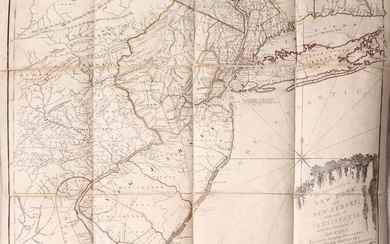 """Thomas Jefferys' Important Revolutionary War Period Map, """"The Provinces of New York, and New Jersey; with Part of Pensilvania, and the Province of Quebec..."""", Holland/Pownal"""