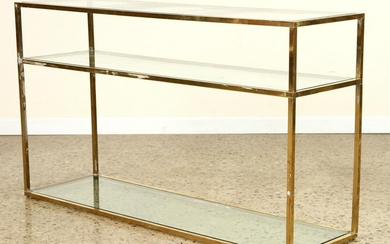 THREE TIER BRASS GLASS CONSOLE OR SOFA TABLE 1970