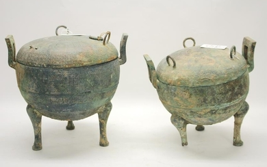 Two Bronze Warring States Covered Dings