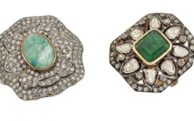 Two diamond and beryl cluster rings, the...