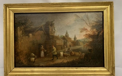 ANTIQUE 19TH CTY NICHOLAS CONDY FRAMED OIL PANEL
