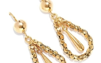 ANTIQUE GOLD DROP EARRINGS, 19TH CENTURY in high carat