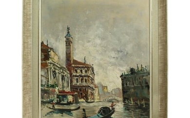 Antonio Devity 'Italian, 1901-1993' Venice Canal Oil on