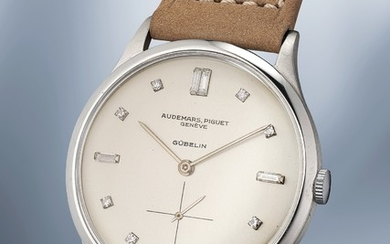 Audemars Piguet, Ref. 5057 A rare, large and attractive white gold wristwatch with diamond-set indexes