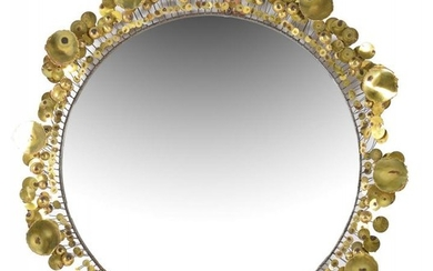 Curtis Jere (attributed), Raindrops, a circular large wall mirror
