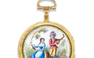 A gilt metal key wind open face with painted enamel scene