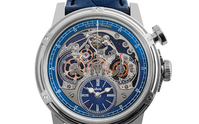 "LOUIS MOINET MEMORIS ONLY WATCH The first fun, educational chronograph in the history of watchmaking – with the chronograph function visible on the dial. 46mm titanium case; aventurine plate; ""ONLY WATCH"" engraved on the oscillating weight.,"