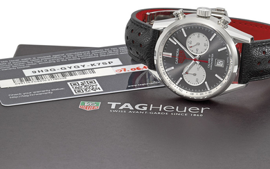 TAG HEUER. A STAINLESS STEEL AUTOMATIC CHRONOGRAPH WRISTWATCH WITH DATE, ORIGINAL WARRANTY AND BOX, SIGNED HEUER, CARRERA, CALIBRE 17, REF. CV5110.FC6310, CASE NO. 1'780'228, CIRCA 2018
