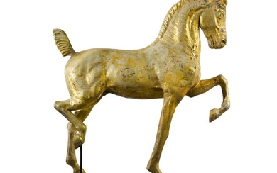 VERY FINE MOLDED FULL BODIED GILT SHEET COPPER AND ZINC HACKNEY HORSE WEATHERVANE, DUBUQUE, IOWA, CIRCA 1880